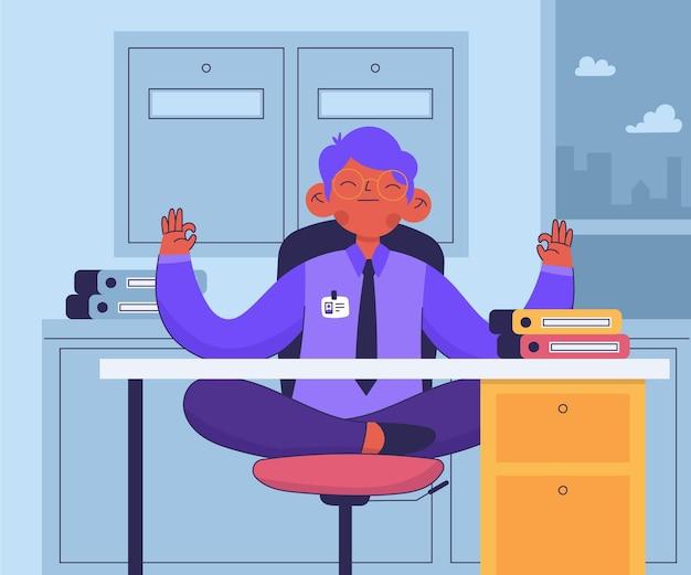 Деловой человек мирно медитирует