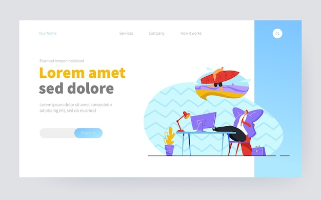 Business person relaxing and thinking of vacation. smiling man at work dreaming of holiday on island flat vector illustration. vacation, holiday concept for banner, website design or landing web page
