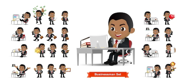Business person set office workers