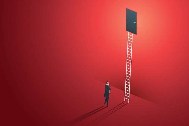 Business person standing thinking looks at door on wall red up path ladder to goal success. illustration