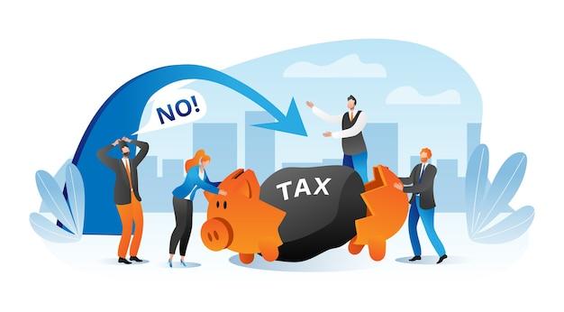 큰 세금 재정 부담 개념 비즈니스 사람