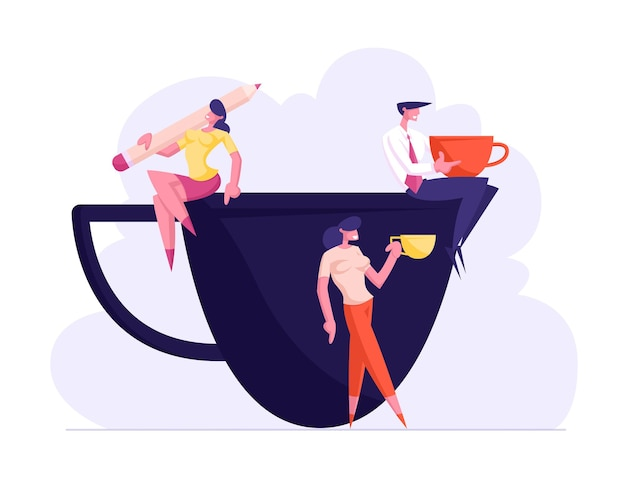 Business persons friends and colleagues on coffee break illustration