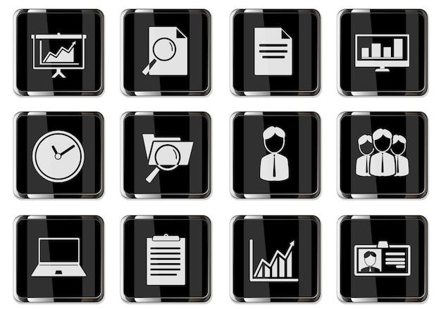 Деловые пиктограммы в черных хромированных кнопках. набор иконок для вашего дизайна. векторные иконки