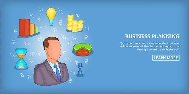 Business plan background horizontal man, cartoon style