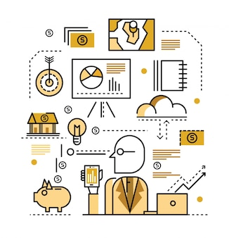 Business plan concept. flat line icons. vector illustration