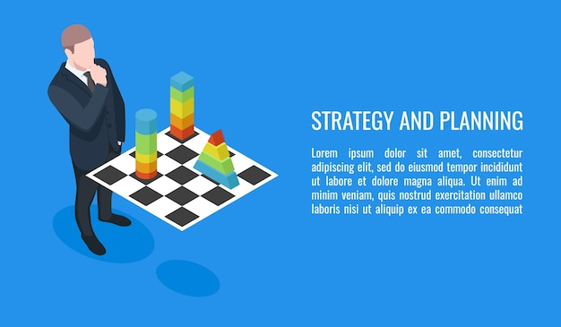 Business plan, evolution strategy of business, businessman playing chess