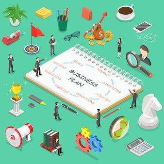 Бизнес-план плоской изометрической концепции. деловая команда обсуждает стратегию своей компании.