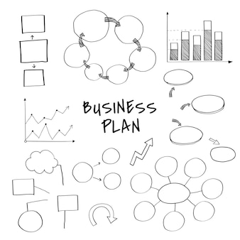 Business plan set with chart and graph vectors