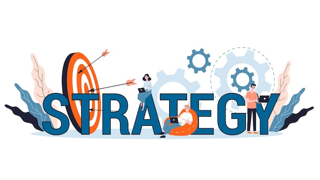 Business plan and strategy concept. making financial research and goal analysis. organization of business.   illustration
