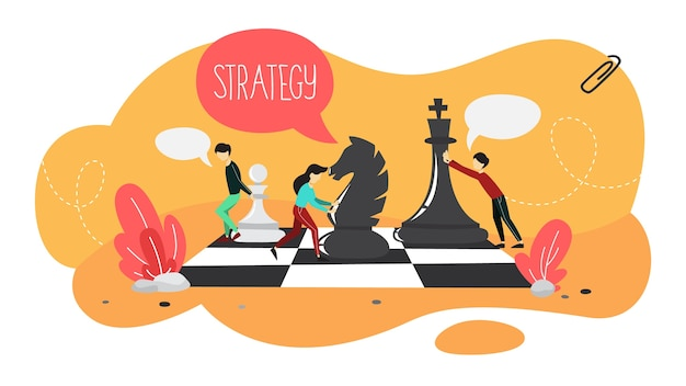 Business plan and strategy concept. people play chess on a giant board. making financial research and goal analysis. organization of business. set of colorful icons. isolated flat