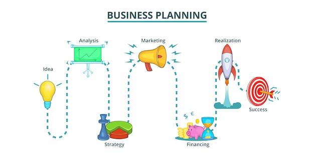 Business plan way banner horizontal, cartoon style