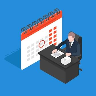 Business plan, work plan calendar, businessman sit at table