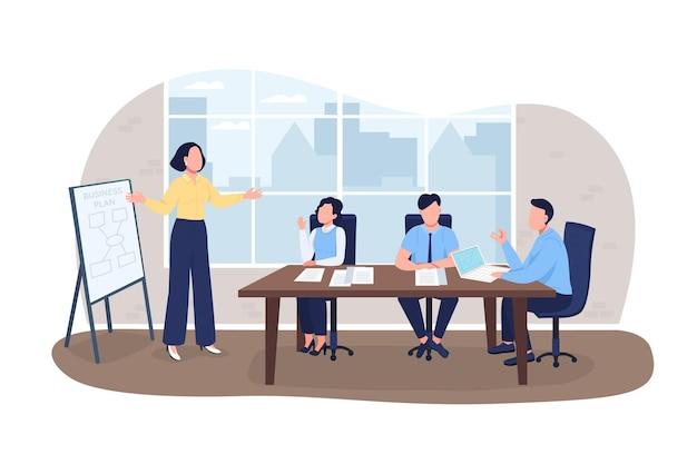 사업 계획 2d 벡터 웹 배너, 포스터입니다. 만화 배경에 기업인 평면 문자입니다. 마케팅 세미나. 전문 워크샵 인쇄 가능한 패치, 다채로운 웹 요소