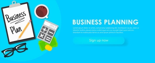 Business planning banner. workplace with documents, money, glasses, calculator.