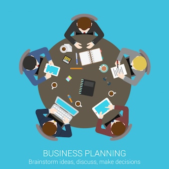 Business planning brainstorming top view concept. people sitting at round meeting table vector illustration.