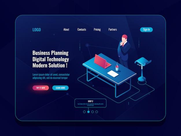 사업 계획 개념, 사업가 머물면서 브레인 스토밍 프로세스, 사무실에서 워크 플로우, 노트북 생각
