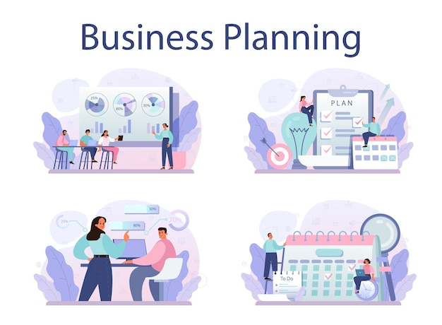 Business planning concept set idea of business strategy setting a goal
