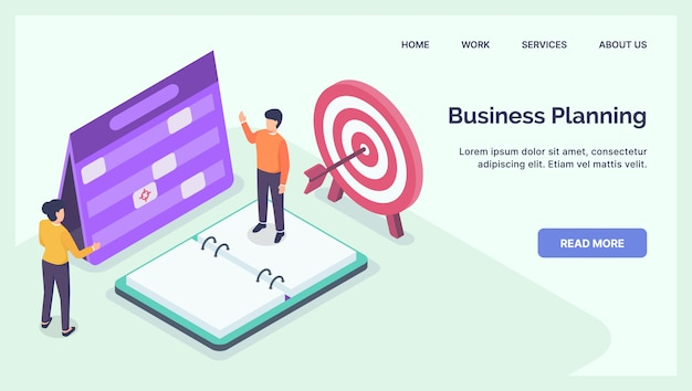 Business planning discussion concept for website template landing homepage with modern isometric flat