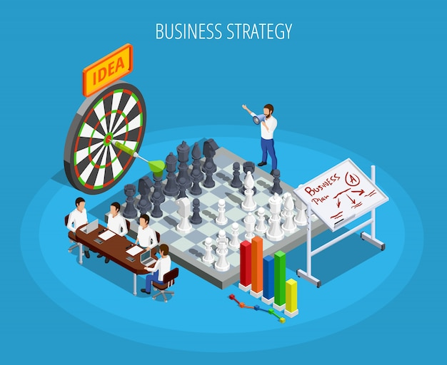 Business planning isometric template
