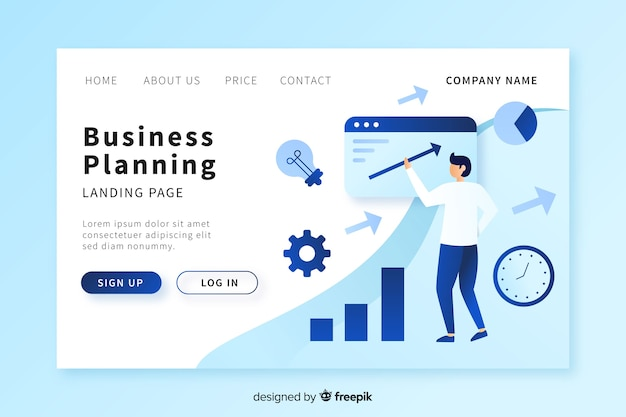 Business planning landing page template