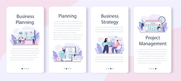 Набор баннеров для мобильного приложения для бизнес-планирования