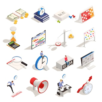 La pianificazione aziendale e l'organizzazione dell'orario di lavoro hanno messo con le icone isometriche di termine della sveglia di programma della clessidra isolate