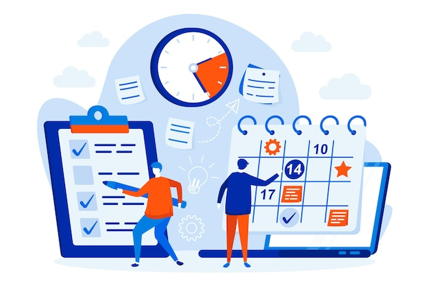 Business planning web design concept with people characters illustration
