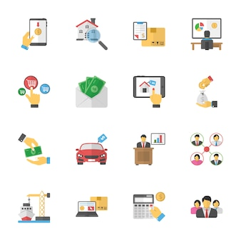 Business plans flat icons