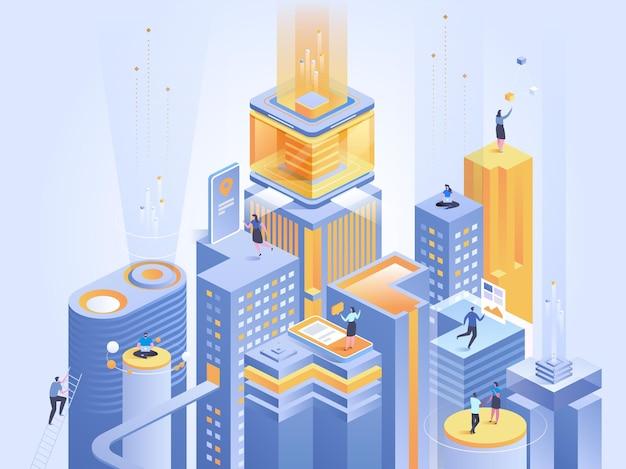 비즈니스 플랫폼 추상 아이소메트릭 그림입니다. 기업인과 경제인 차트를 분석하고 노트북 3d 만화 캐릭터로 작업합니다. 가상 도시, 미래 기술 밝은 파란색 개념