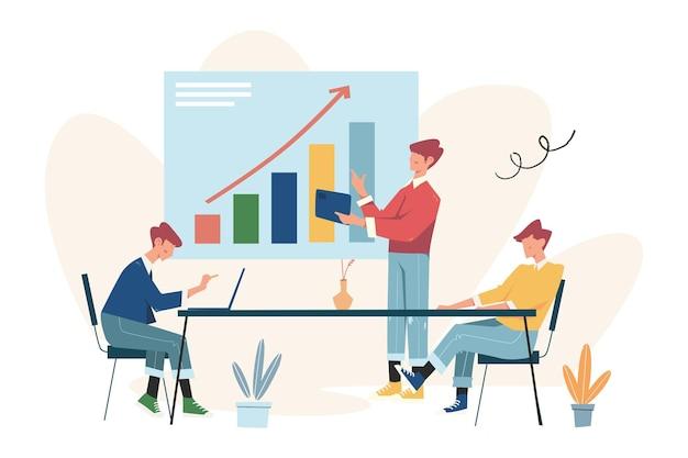 비즈니스 포터는 성공적인 팀, 투자자는 아이디어에 돈을 보유하고 창의적인 프로젝트 자금을 조달합니다.