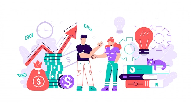 Business porters a successful team. the investor holds money in ideas. financing of creative projects. woman and man business handshake. flat style  business illustration on white background.