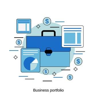 비즈니스 포트폴리오 평면 디자인 스타일 벡터 개념 그림