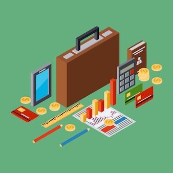 Business portfolio, report flat 3d isometric vector concept illustration