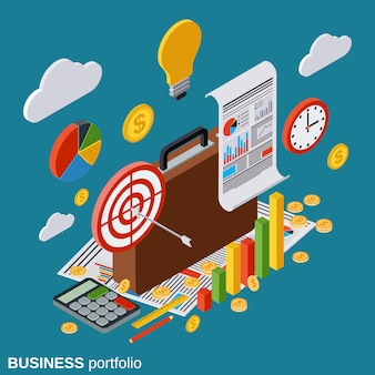 Business portfolio vector concept illustration