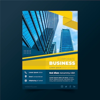 Business poster template with buildings and sky