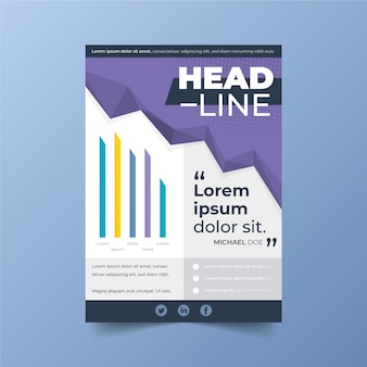 Business poster template with head line and chart