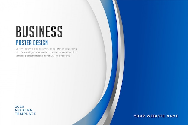 Business poster with elegant blue curve shapes