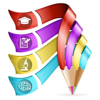 鉛筆と4つのステップの教育とビジネスポスター