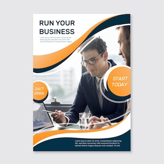 Business poster with photo template