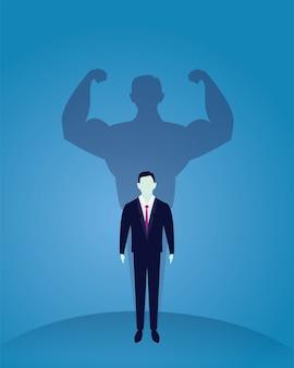 ビジネスパワーコンセプト。強いビジネスマン