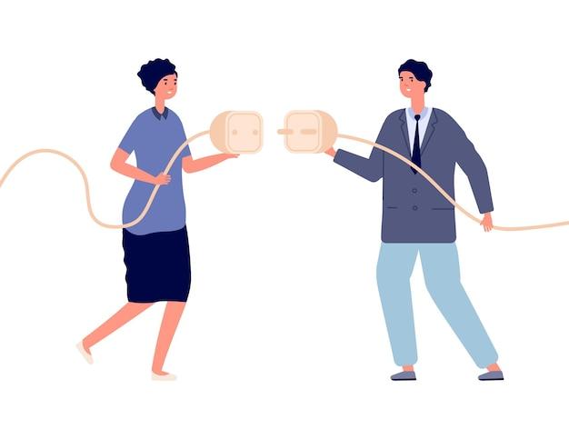 Подключение к бизнесу. электричество, сотрудничество женщины с мужчиной. кабельный штекер подключения, векторная иллюстрация интерсексуального партнерства. деловой провод питания, шнур подключен