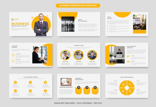 Business powerpoint presentation template or company profile presentation slide