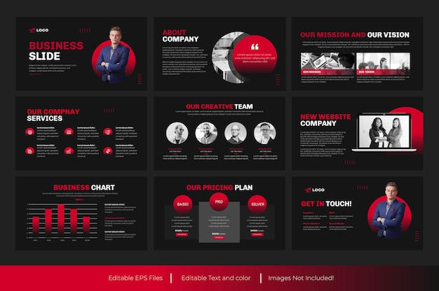 ビジネスパワーポイントスライドプレゼンテーションと赤色のビジネスプレゼンテーションテンプレートデザイン