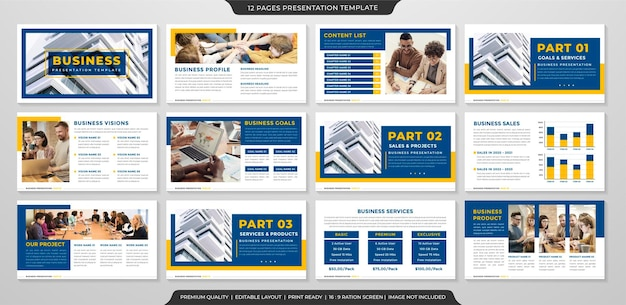 Business ppt slide layout template with minimalist and clean style