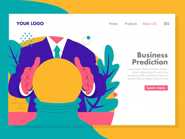 Business prediction illustration for landing page