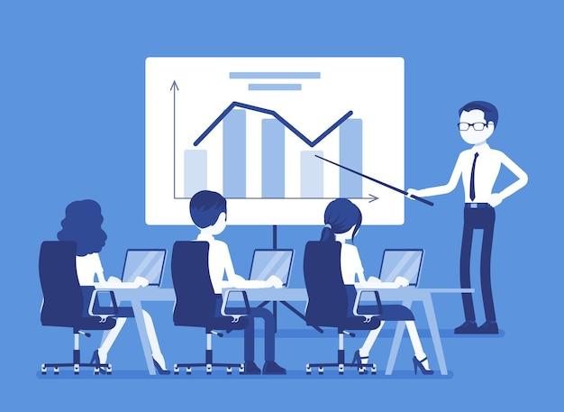 Бизнес-презентация и брифинг в офисе. демонстрация, лекция для презентации новой идеи, ежегодное выступление для информирования, вдохновения и мотивации сотрудников компании. векторная иллюстрация, безликие персонажи