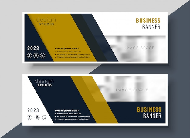 Business presentation banner design in geometric shape