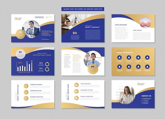 비즈니스 프레젠테이션 브로셔 가이드 디자인 | 파워 포인트 슬라이드 템플릿 | 판매 가이드 슬라이더