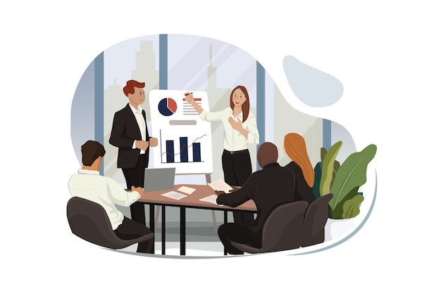 Business presentation on chart for executives