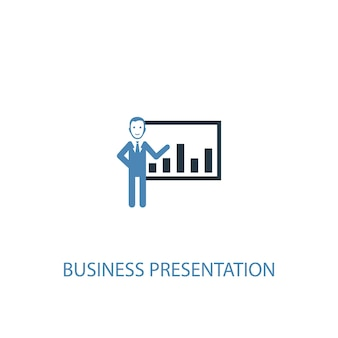 Business presentation concept 2 colored icon. simple blue element illustration. business presentation concept symbol design. can be used for web and mobile ui/ux